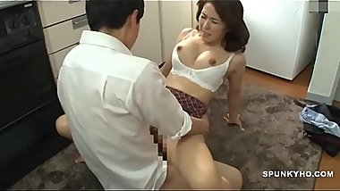 Japanese mom makes son cum hard &amp_ fast