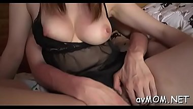 Sexy mama gets plowed with giant cock and cream on her leg