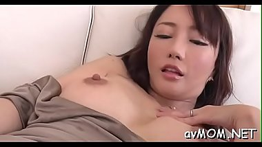 Hawt asian mom disrobe tease