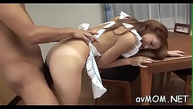 Hot asian mom in heels gets nude and screwed on couch