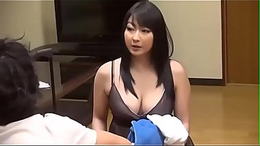 Chubby Japanese stepmom take a shower