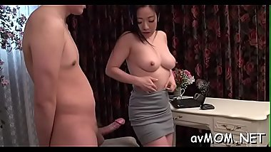 Oriental milf goes wild on three hard cocks, cum discharged