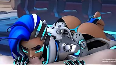 Sombra Blowjob  blender Animation WSound  Overwatch black cock