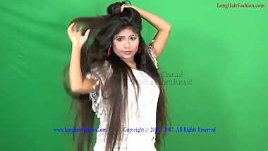 Playing Long Silky Hair  Indian babe  LHS
