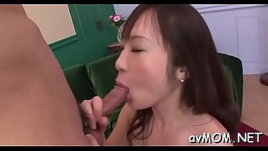 Wet pussy asian milf takes on three boys with dildos