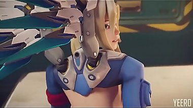 Mercy from behind Overwatch blender AnimationW Sound shaved
