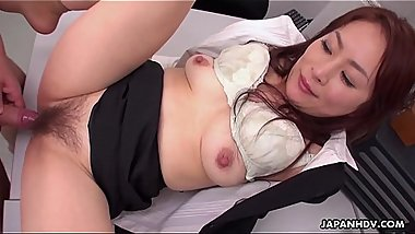 Japanese office slut Yuri Kawana gets double teamed by colleagues