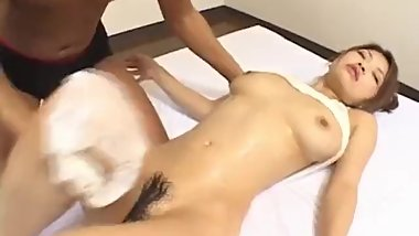 Alice Hoshi gets a big dick to smash her hairy twat