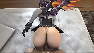 Mercy from behind Overwatch  SFM Animation  Skin Variants lingerie