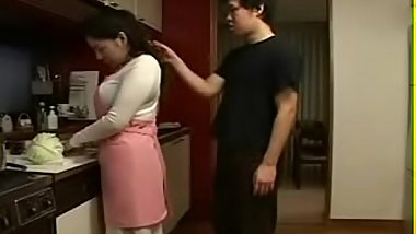 Japanese Stepmom and Son in Kitchen Fun
