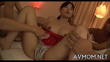 Lustful oriental milf enjoys cock