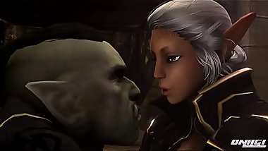 Ophelia Dark Elf Sex with Orc face-fuck