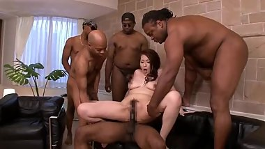 japanese milf Interracial gangbang