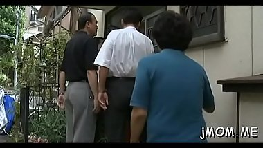 Kinky japanese aged licks her paramour all over his body