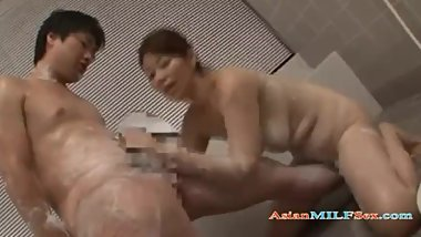 Busty Milf Getting Her Tits Rubbed Washing Guy Body Giving Handjob In The B