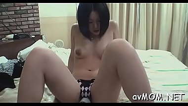 Wet pussy oriental milf takes on 3 guys with dildos