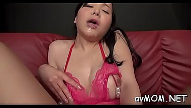 Asian milf goes wild on 3 hard cocks, cum discharged